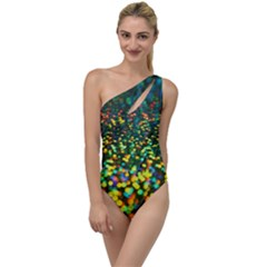 Construction Paper Iridescent To One Side Swimsuit