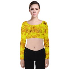 Yellow Abstract Background Velvet Long Sleeve Crop Top