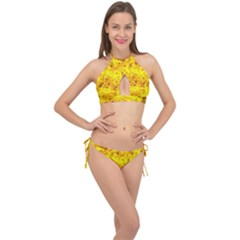 Yellow Abstract Background Cross Front Halter Bikini Set