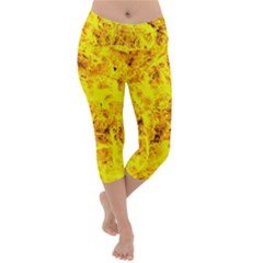 Yellow Abstract Background Lightweight Velour Capri Yoga Leggings
