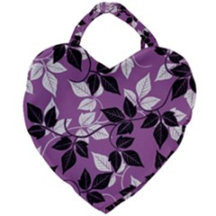 Floral Pattern Background Giant Heart Shaped Tote