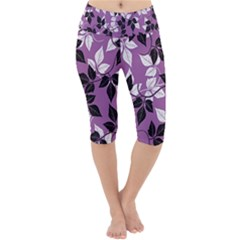 Floral Pattern Background Lightweight Velour Cropped Yoga Leggings by Jojostore