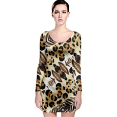 Background Fabric Animal Motifs And Flowers Long Sleeve Bodycon Dress