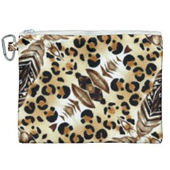 Background Fabric Animal Motifs And Flowers Canvas Cosmetic Bag (xxl)