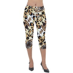 Background Fabric Animal Motifs And Flowers Lightweight Velour Capri Leggings