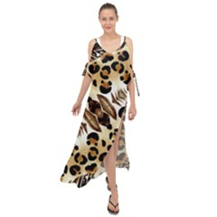 Background Fabric Animal Motifs And Flowers Maxi Chiffon Cover Up Dress