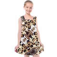 Background Fabric Animal Motifs And Flowers Kids  Cross Back Dress