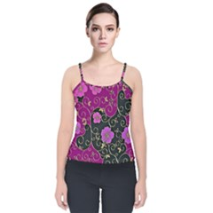 Floral Pattern Background Velvet Spaghetti Strap Top