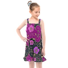 Floral Pattern Background Kids  Overall Dress