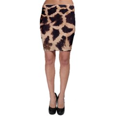 Yellow And Brown Spots On Giraffe Skin Texture Bodycon Skirt