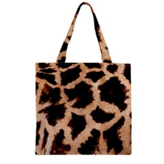 Yellow And Brown Spots On Giraffe Skin Texture Zipper Grocery Tote Bag
