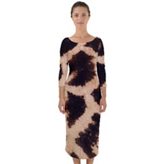 Yellow And Brown Spots On Giraffe Skin Texture Quarter Sleeve Midi Bodycon Dress
