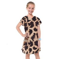 Yellow And Brown Spots On Giraffe Skin Texture Kids  Drop Waist Dress