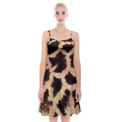 Yellow And Brown Spots On Giraffe Skin Texture Spaghetti Strap Velvet Dress
