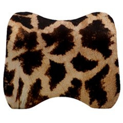 Yellow And Brown Spots On Giraffe Skin Texture Velour Head Support Cushion