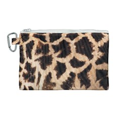 Yellow And Brown Spots On Giraffe Skin Texture Canvas Cosmetic Bag (large)