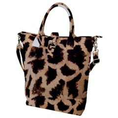 Yellow And Brown Spots On Giraffe Skin Texture Buckle Top Tote Bag