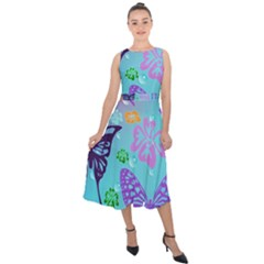 Butterfly Vector Background Midi Tie Back Chiffon Dress
