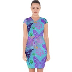 Butterfly Vector Background Capsleeve Drawstring Dress