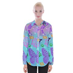 Butterfly Vector Background Womens Long Sleeve Shirt