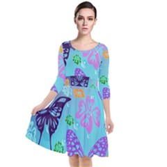 Butterfly Vector Background Quarter Sleeve Waist Band Dress