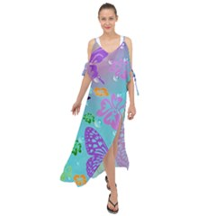 Butterfly Vector Background Maxi Chiffon Cover Up Dress