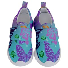 Butterfly Vector Background Velcro Strap Shoes