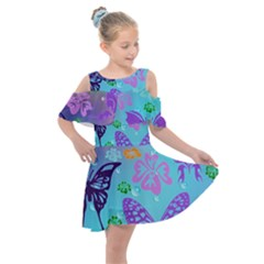 Butterfly Vector Background Kids  Shoulder Cutout Chiffon Dress