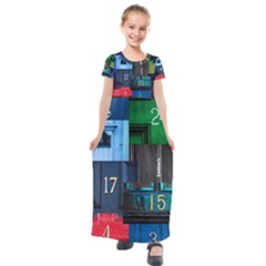Door Number Pattern Kids  Short Sleeve Maxi Dress by Jojostore