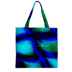 Blue Scales Pattern Background Zipper Grocery Tote Bag by Jojostore