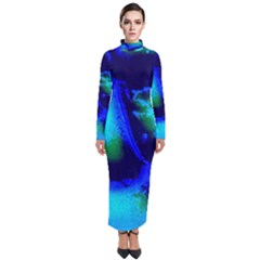 Blue Scales Pattern Background Turtleneck Maxi Dress by Jojostore