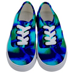 Blue Scales Pattern Background Kids  Classic Low Top Sneakers