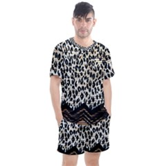 Tiger Background Fabric Animal Motifs Men s Mesh Tee And Shorts Set