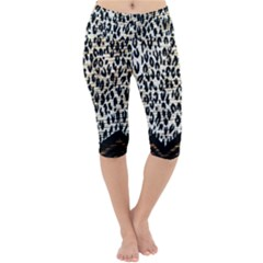 Tiger Background Fabric Animal Motifs Lightweight Velour Cropped Yoga Leggings