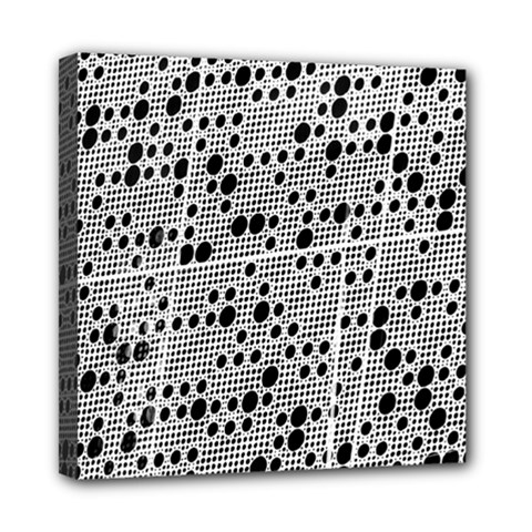 Metal Background Round Holes Mini Canvas 8  X 8  (stretched) by Jojostore