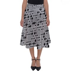 Metal Background Round Holes Perfect Length Midi Skirt