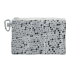 Metal Background Round Holes Canvas Cosmetic Bag (large) by Jojostore