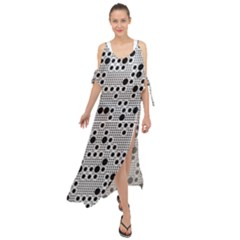 Metal Background Round Holes Maxi Chiffon Cover Up Dress