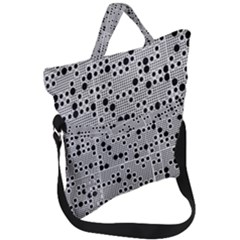 Metal Background Round Holes Fold Over Handle Tote Bag by Jojostore