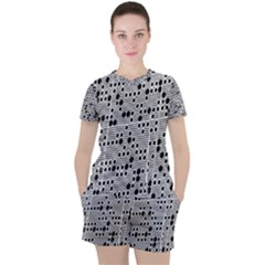 Metal Background Round Holes Women s Tee And Shorts Set