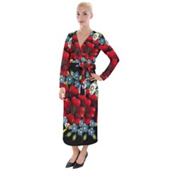 Flower Decoration Bouquet Of Flowers Velvet Maxi Wrap Dress