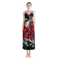 Flower Decoration Bouquet Of Flowers Button Up Chiffon Maxi Dress