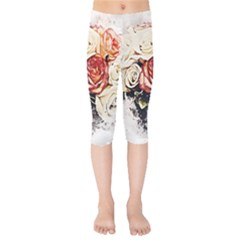 Flowers Background Wallpaper Art Kids  Capri Leggings