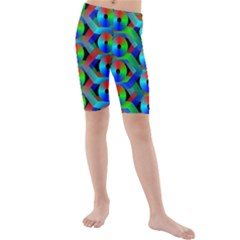 Bee Hive Color Disks Kids  Mid Length Swim Shorts