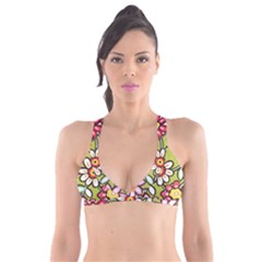 Flowers Fabrics Floral Design Plunge Bikini Top by Sapixe