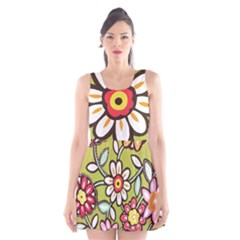 Flowers Fabrics Floral Design Scoop Neck Skater Dress