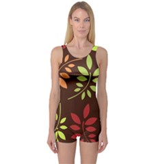 Leaves Foliage Pattern Design One Piece Boyleg Swimsuit by Sapixe