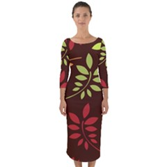 Leaves Foliage Pattern Design Quarter Sleeve Midi Bodycon Dress