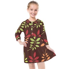 Leaves Foliage Pattern Design Kids  Quarter Sleeve Shirt Dress by Sapixe