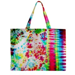 Pattern Decorated Schoolbus Tie Dye Zipper Mini Tote Bag